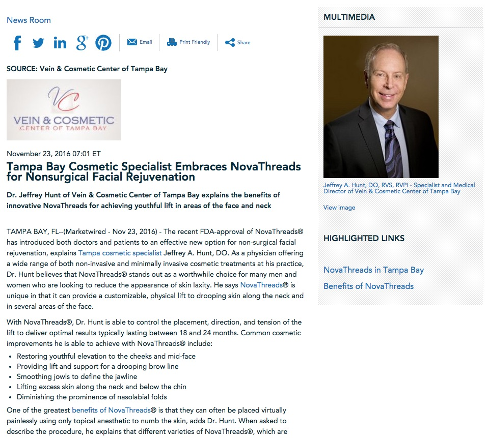Dr. Jeffrey Hunt discusses the benefits of NovaThreads for nonsurgical facial rejuvenation.